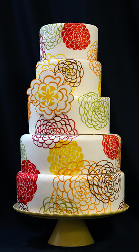 Bold Hand Painted Flowers Wedding Cake