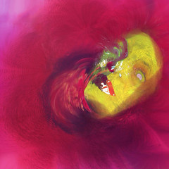 Behind Blue Eyes. (brynze1) Tags: blue portrait woman abstract color art mobile illustration digital photography eyes paint neon behind armless sinking reddress helpless nervousbreakdown iphoneography