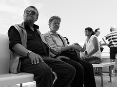 lteres Ehepaar auf dem Boot (Fabian Hamacher) Tags: ocean sea vacation blackandwhite bw germany island couples panasonic rgen boattrip vacationers gh4 panasonicgh4