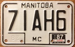 MANITOBA 1987 ---MOTORCYCLE LICENSE PLATE (woody1778a) Tags: canada 1987 manitoba licenseplate collection motorcycle collector numberplate registrationplate motorvehicle