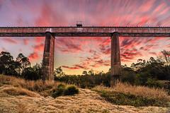 Deep Creek Viaduct, Gympie (Matthew Post) Tags: sunset train canon landscape post matthew traintracks australia viaduct queensland tamron steamtrain 6d deepcreek monkland gympie 2875mm heritagerail matthewpost mvhr eastdeepcreek goldfossickingarea