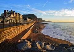 Sidmouth sea front (Andrew Boxall) Tags: morning sea sky seascape beach wall landscape coast early july front cliffs east clear devon sidmouth 2014