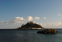 St Michael's Mount as the sun sets (zawtowers) Tags: ocean blue sunset sea summer sky holiday water sunshine st evening bay warm cornwall break arms july mount hidden national trust monday michaels causeway marazion kernow mounts 2014 godolphin