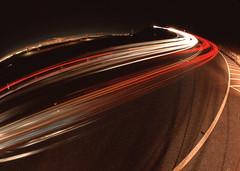 Semi-Abstract Light Trail Affair (RZ68) Tags: road street bridge light abstract fog night golden gate san francisco long exposure marin low wide foggy trails semi fisheye velvia headlands streaks provia rd rz67 ggnra e100 conzelman 37mm rz68