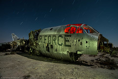 Force Reduction (dejavue.us) Tags: california longexposure nightphotography lightpainting abandoned airplane nikon desert aircraft fullmoon nikkor mojavedesert b52 d800 1835mmf3545d vle