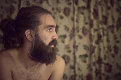 Day 237 (Michael Rozycki) Tags: portrait flower face self canon project beard eyes sitting personal side curtain moustache 7d shoulders 1755