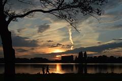 Sunset (Dutchview46) Tags: sunset people lake holland tree art nature water silhouette skyline clouds nude landscape nikon europe redlight shertogenbosch franslanting