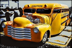 Hot Rod School Bus (Photos By Vic) Tags: old classic chevrolet yellow vintage chevy hotrod vehicle schoolbus custom carshow