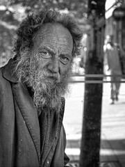 Tore - Explore September 16, 2014 (Anne Worner) Tags: street old portrait blackandwhite bw man norway beard 50mm mono streetphotography monochromatic smiley bergen unkempt wrinkles bearded portraitformat olavkyrresgate portraitlens toremoen gateoriginal