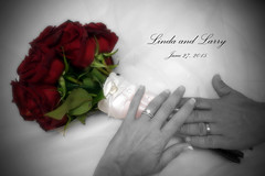 Linda and Larry (DiamondBonz) Tags: flowers wedding red white black married husband rings wife bouquet