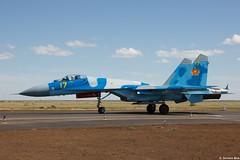 Kazakhstan Air Force Sukhoi Su-27M2 17 Yellow taxiing back after demoing, pilot making a v-sign, KADEX-2016, Astana Kazakhstan (Jeroen.B) Tags: 2016 airport defence expo kadex kazachstan kazakhstan uacc қазақстанның air force sukhoi su27m2 17 su27 27 ye yellow 36911023613 kadex2016 astana