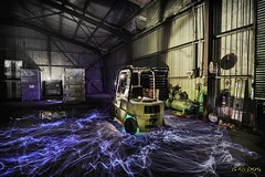 We Will Rule (ralphb58.) Tags: australia newsouthwales nsw sydney factory shed night forklift lightpainting possessed light lens20mmel wirelong exposurecanon5d mkiisigmaart lens