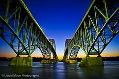 Grand Island (liquidmoonphoto) Tags: architecture bridge buffalo dusk grandisland niagara niagarariver sunset water night river niagarafalls structure evening longexposure