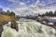 Upper Spokane Falls (Ian Sane) Tags: ian sane images upperspokanefalls water fall spokane washington bridge nature river city urban clouds sky blue canon eos 5d mark ii two camera ef1740mm f4l usm lens spokanepulse