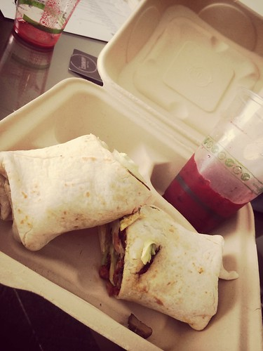 """Beet juice and gluten free breakfast wrap at hotel. <a style=""""margin-left:10px; font-size:0.8em;"""" href=""""http://www.flickr.com/photos/118228725@N06/14205075020/"""" target=""""_blank"""">@flickr</a>"""