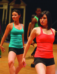 Chelsea Morgan Stock (Maggie) and Selina Michelle Verastigui (Diana) during rehearsal for A Chorus Line, produced by Music Circus at the Wells Fargo Pavilion June 24 – 29, 2014. Photos by Charr Crail.