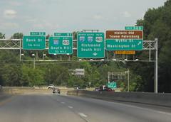 Exits 50D, 51, and 52 (peachy92) Tags: vacation virginia petersburg va roadsign roadsigns i95 i85 2014 petersburgva petersburgvirginia roadgeek biggreensign us460 nikoncoolpixl22 vacation2014