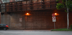 Stop (Photographs By Wade) Tags: cars sign downtown pittsburgh pennsylvania overpass viaduct stop stopsign streetsigns