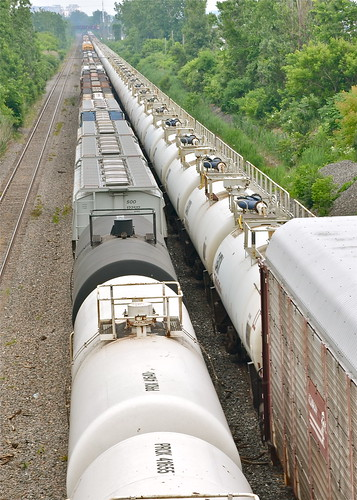 TankTrain cars on CN 401 at right