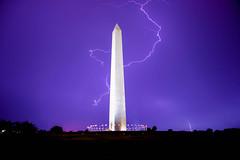 Lightning Strikes (AngelBeil) Tags: sky storm weather night us nikon long exposure dramatic flags bolts lightning washingtonmonument storms strikes d610