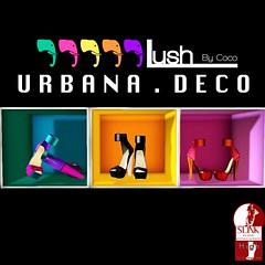 URBANA DECO ADVERT (Xi Zane | Coco Godiva | Lush Designer) Tags: urban docks secondlife zane exclusive xi slink colorblocked couturiers slinkfeet highfeet couturiersdocks lushbycoco urbanashoe