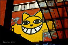 make cats, not war! (japanese forms) Tags: streetart cat graffiti stencil kat gato meow katze graff guillaume miao 猫 gatto kot miauw miau chrismarker miaow mchat thecaseofthegrinningcat grinningcat chatsperchés thomavuille ©japaneseforms2014