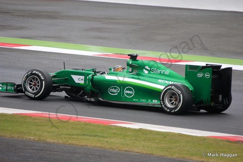 Kamui Kobayashi in his Caterham during qualifying for the 2014 British Grand Prix