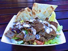 gyro salad from Gyros on Wheels in San Francisco (Fuzzy Traveler) Tags: sanfrancisco gyros meat foodtruck somastreatfoodpark gyrosonwheels