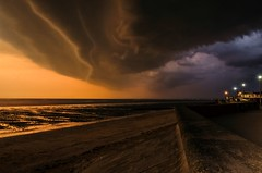 """Approaching storm looking the other way  """"EXPLORE"""" (Jez22) Tags: blue sunset england sky copyright storm color beach nature weather clouds dark pareidolia landscape outdoors lights evening coast kent marine view natural cloudy dusk ominous dramatic windy stormy scene thunderstorm cloudscape atmospheric approaching conditions leysdown isleofsheppey jeremysage"""