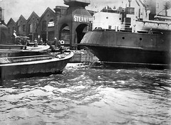 D P & L - London Blitz (Dundee City Archives) Tags: london thames docks river boat sailing ship force dundee crane air 1940 vessel german wharf damage ww2 raid bomb blitz destroyed barge bombing warehouses worldwar2 limehouse quayside luftwaffe dockside dockland dpl dundeeperthlondonshippingcompany