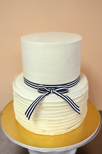White Buttercream Ribbons Wedding Cake with Real ribbon