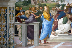 Raphael, Disputa, lower left corner