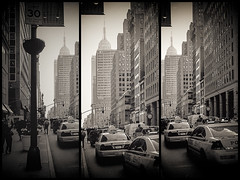 Chasing the cars in New York City (jaysanstudio) Tags: street city nyc newyorkcity usa newyork building cars yellow cityscape manhattan cab police empirestatebuilding streetscape