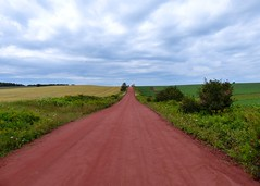 PEI countryside (nikagnew) Tags: road red sky canada clouds landscape day cloudy country overcast soil pasture fields province fileds