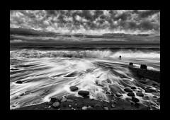 WATER MOVEMENT AT SEAHAM BEACH (IN MONO) (lynneberry57) Tags: sea seascape beach water mono coast movement durham scenic coastal coastline groynes seaham