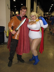 Roman soldier and Power Girl costumers at Boston Comic Con 2014 (FranMoff) Tags: boston soldier costume cosplay roman rory centurian doctorwho drwho 2014 powergirl costumer bostoncomiccon bostoncomiccon2014 affexioncosplay