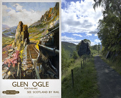 Glen Ogle then and now (Dave S Campbell) Tags: train poster scotland track railway steam glen present then now past cuneo terence thenandnow route7 glenogle pastandpresent nationalcycleroute7
