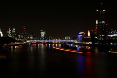 (Picka Picture) Tags: nightphotography london canon lowlight cityscape lighttrails riverthames blackfriarsbridge thethames londonatnight boattrails takenfromwaterloobridge canon70d megapixmedia