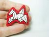 White Japanese Origami Crane Felt Brooch