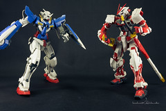 Gundam Sets (kiekie_21) Tags: blue red black miniature action figure sword shield gundam mecha warior