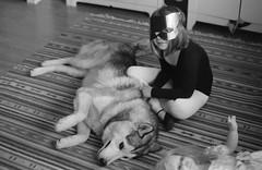 Scan-140918-0011c (Oleg Green (lost)) Tags: portrait dog film 35mm children husky play voigtlander 400 rodinal 125 1735 fomapan ultron