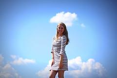 Kristen (Mary Jo.) Tags: blue portrait sky senior clouds canon happy rebel 50mm bright stripes mj kristen xs f18 maryjo vignette