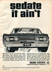 1967 Oldsmobile 442 4-4-2 Advertisement Hot Rod December 1966