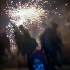 Correfoc (pho-Tony) Tags: barcelona street light festival danger 35mm square shower la fireworks flash explosion rangefinder olympus via 400 vista kit xa noise agfa bang spark zuiko f28 compact olympusxa correfoc healthandsafety merc 128 laietana 2014 agfavista400 c41 firerun deveil vialaietana tetenal lamercfestivalbarcelona2014 pyrorechnic