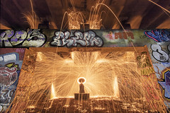 Incoming fire. (Sean Hartwell Photography) Tags: wirewool wire wool spinning flame sparks fire graffiti urban grit flyover a40 uxbridge westlondon hillingdon london england