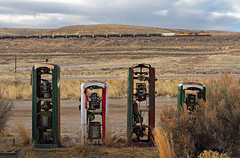 Oil and no gas (Moffat Road) Tags: unionpacific up oiltrain unitoiltrain crudeoiltrain ge ac4400cw peruhill greenriver wyoming train railroad gaspumps abandonedgaspumps oldgasstation sinclair wy jamestown pumps