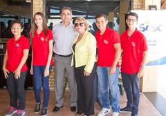 Jéssica Alves; Wiliana Medeiros; presidente do Sistema Fecomércio RN, Marcelo Queiroz; diretora Regional do Sesc, Jeane Amaral; Arthur Junqueira e Matheus Medeiros.