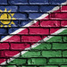 National Flag of Namibia on a Brick Wall