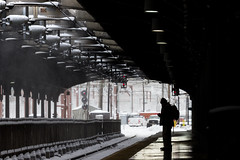 Waiting. (stephen_tvedt) Tags: hoboken train trainstation new jersey newjersey nj light snow silhouette man rail railroad station track dark moody platform