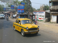 "A classic ""Ambassador"" yellow taxi - Kolkata West Bengal India (WanderingPhotosPJB) Tags: india yellow taxi transport ambassador kolkata img westbengal cmwdyellow"